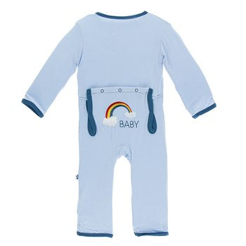 Kickee Pants Holiday Applique Coverall - Pond Rainbow Baby