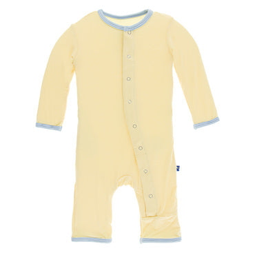 Kickee Pants Solid Coverall w/snaps  - Wallaby w/pond trim