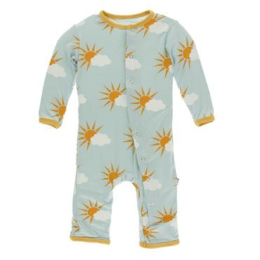 Kickee Pants Print Coverall w/Snaps - Spring Sky Partial Sun