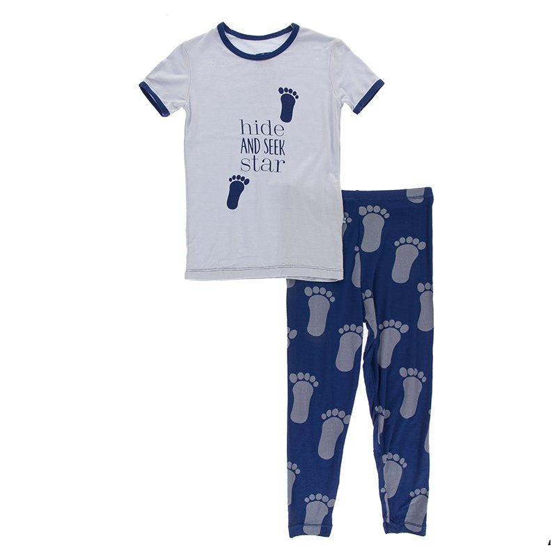 Kickee Pants Print S/S Pajama Set - Flag Blue Bigfoot