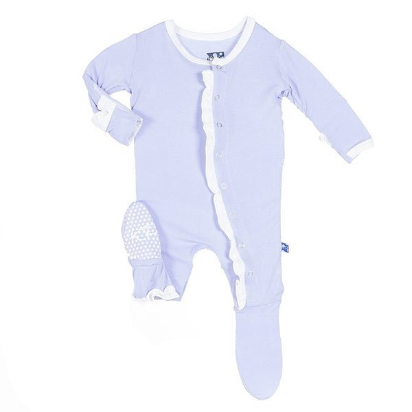 Kickee Pants Solid Classic Layette Ruffle Footie with Paws FW16