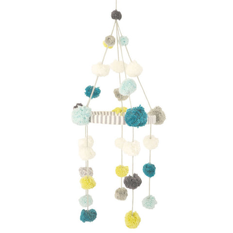 Blabla Kids Pom Pom Mobile - Blue/Green
