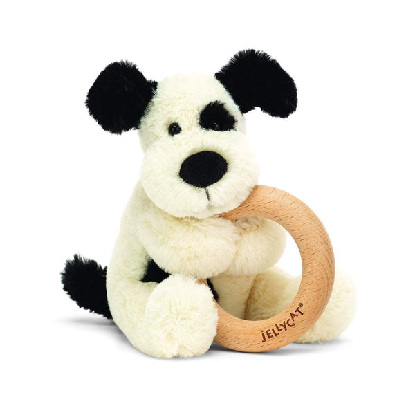 Jellycat Bashful Black & Cream Puppy Wooden Ring Rattle