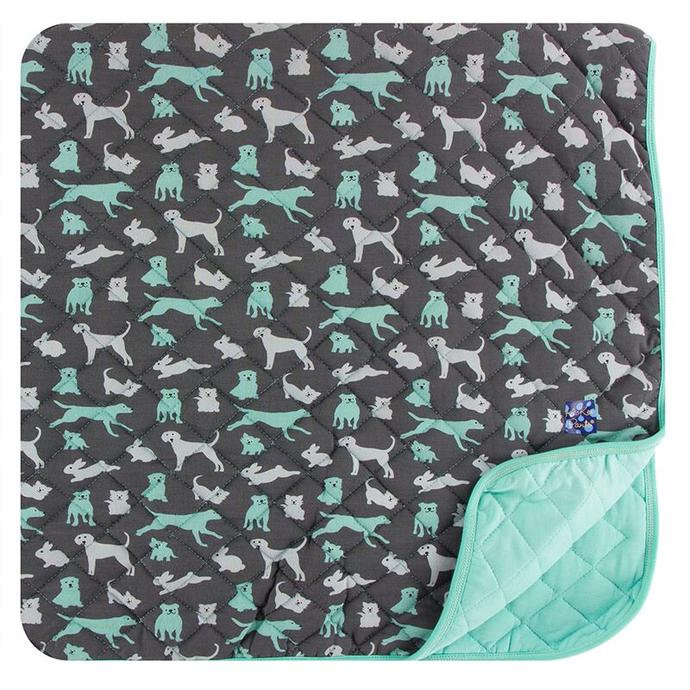 Kickee Pants Quilted Toddler Blanket - Stone Domestic Animals/Glass