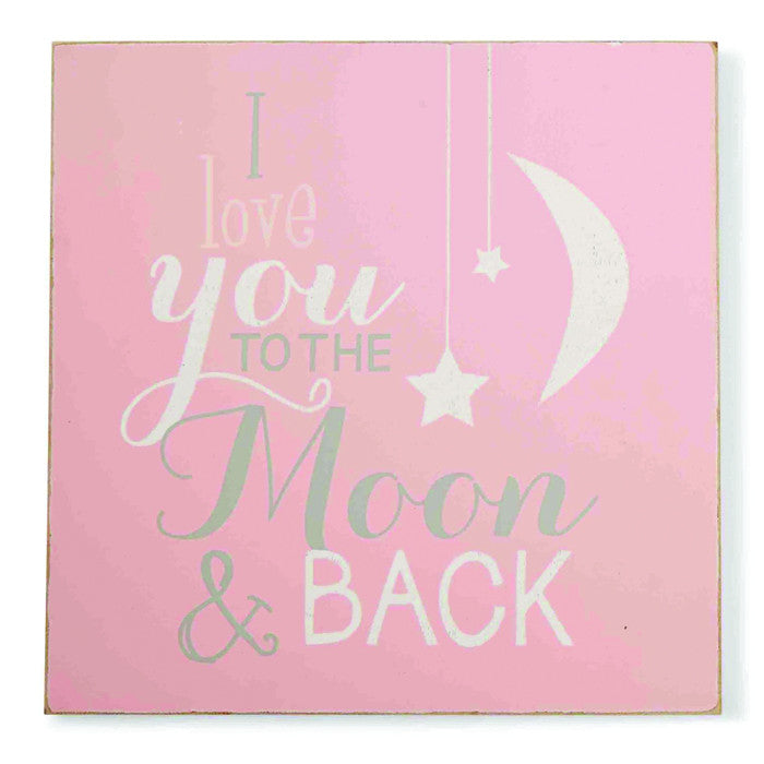 Mud Pie To the Moon Pink Plaque