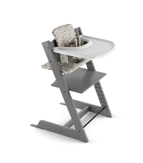 Stokke Tripp Trapp® Storm Grey with Baby Set and Classic Cushion Garden Bunny