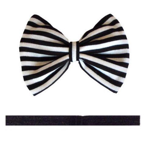 Rhyla Black/White Stripe Hair Bow