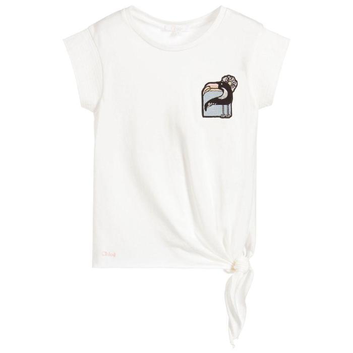 Chloe Kid Knotted Detail Modal SS Tee Shirt SS18