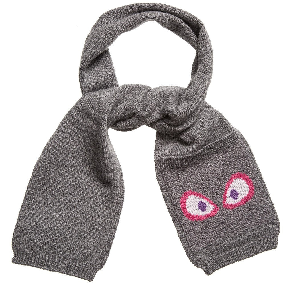 Fendi Monster Eye Grey Wool Scarf FW16