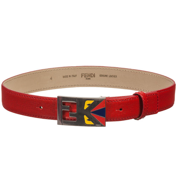 Fendi Kid Red Boy Leather Belt w/ Monster Logo Buckle