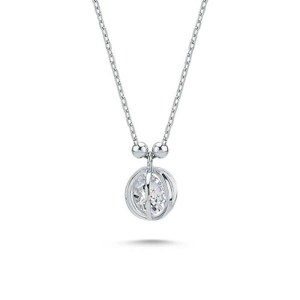 Amorium Floating CZ Necklace in Silver