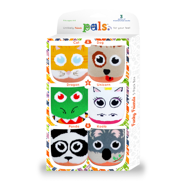Pals Funky Friends: Pals Socks 3-Pack for ages 4-8
