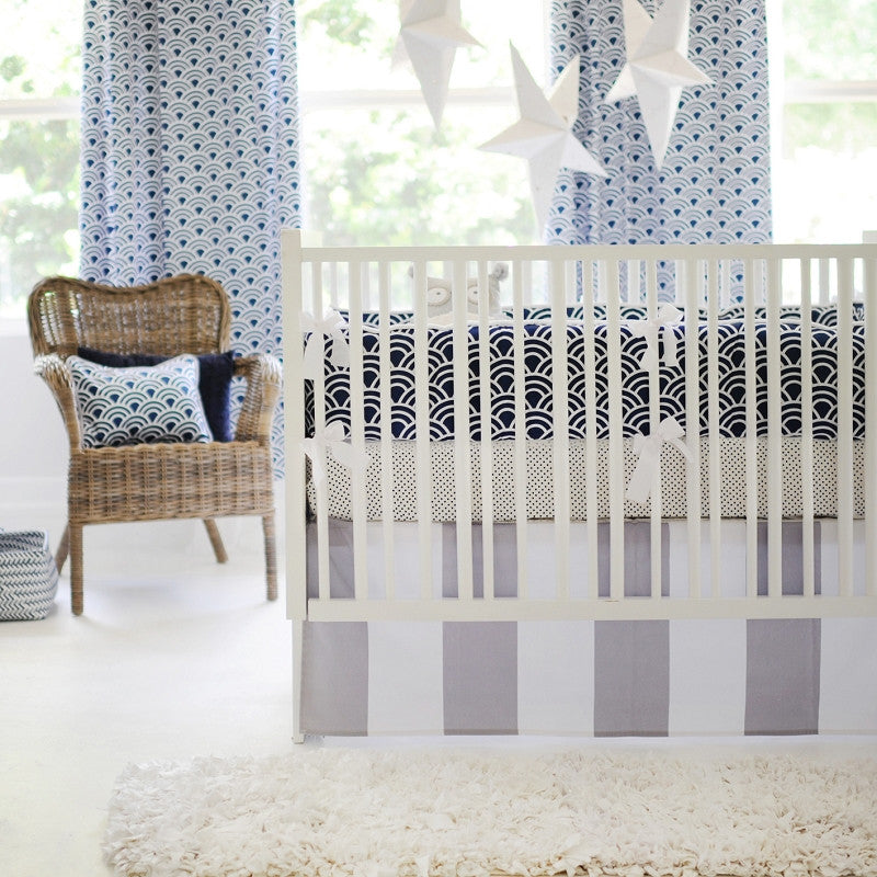 Hampton Bay Navy and Gray Crib Bedding