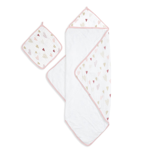 Aden & Anais Hooded Towel Set - Heartbreaker