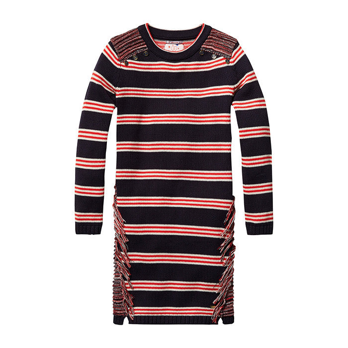 Scotch & Soda Navy/Red Stripe Knitted Dress with Fringing FW16