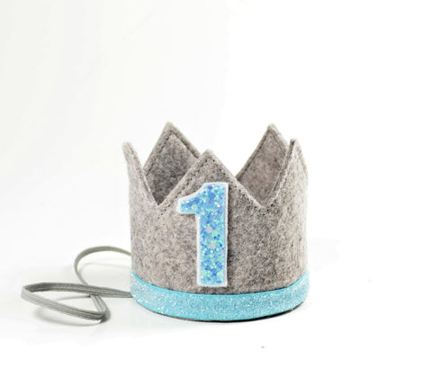 Little Blue Olive Heather Felt Crown, Turquoise #1