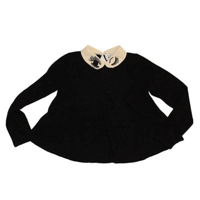 Autumn Cashmere Winking Peter Pan Collar Swing Top FW16