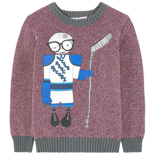 Little Marc Jacobs Knitted Sweater with Mister Marc Hockey Player FW16