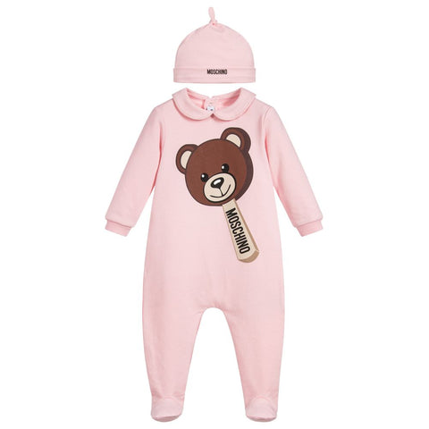 Moschino Baby Teddy Bear Ice Cream Footie & Hat - Pink