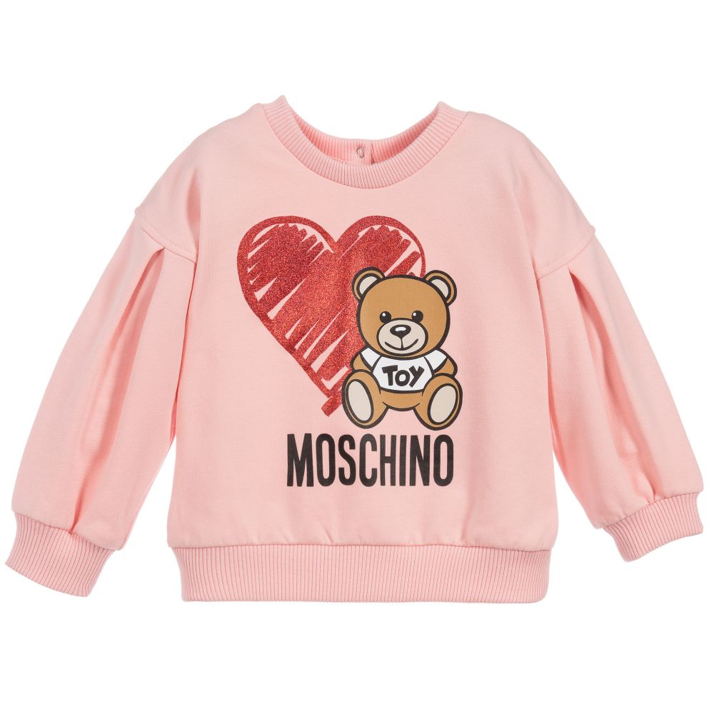 Moschino Baby Girls Sweatshirt w/ Heart Toy Bear - Pink