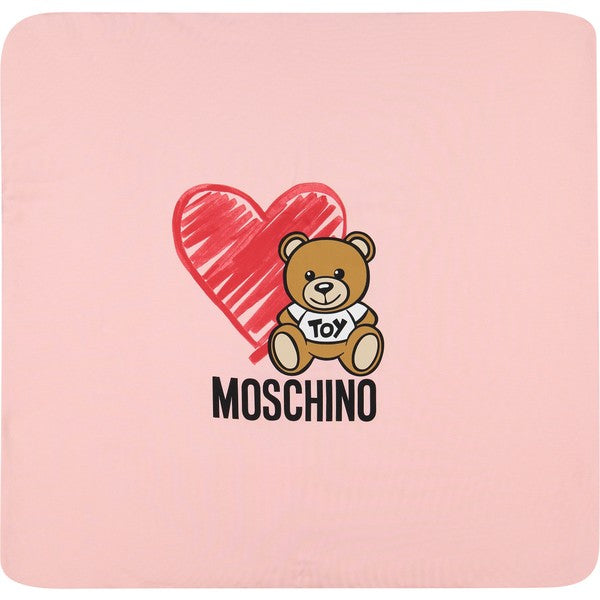 Moschino Baby Blanket w/Toy Bear & Hearts - Rose