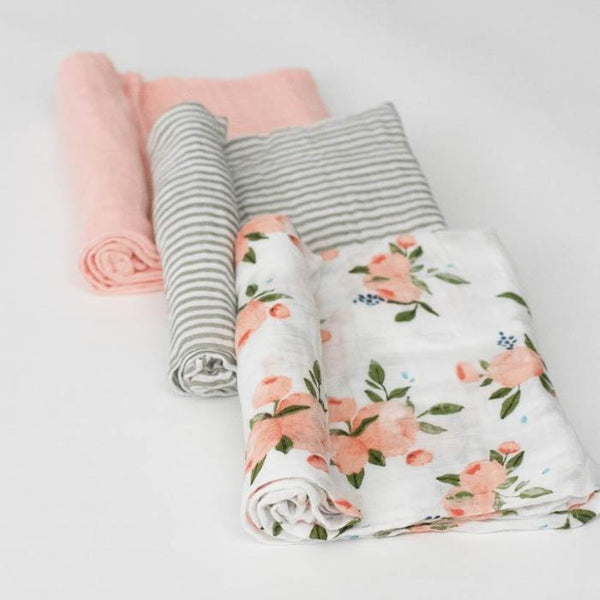 Little Unicorn Cotton Muslin Swaddle 3 Pack- Watercolor Roses