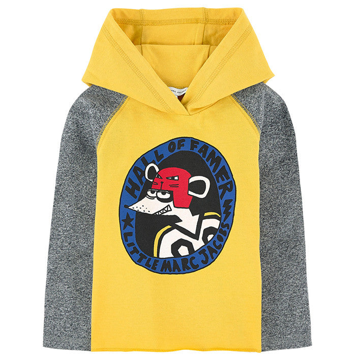 Little Marc Jacobs LS Hooded Tee with Hockey LMJ Mouse Player FW16