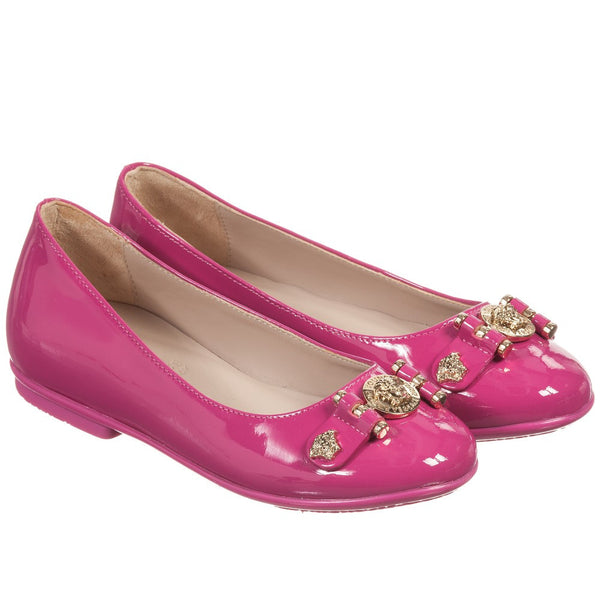 Young Versace Fuchsia Girls Patent Leather Flats w/Medusa Logo