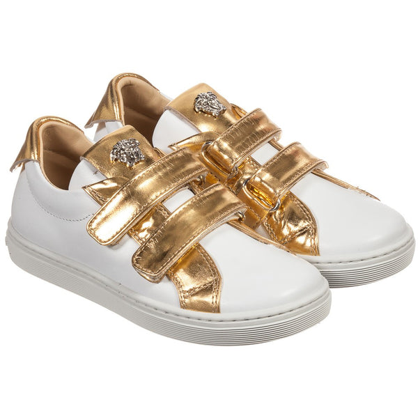 Young Versace White/Gold  Boys Velcro Shoes w/Medusa Detail