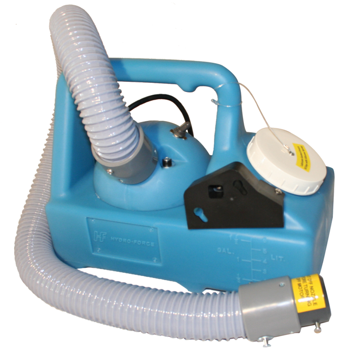 "The PureMist Fogger has an ultra high-speed, 2-stage motor, variable output from 0 to 18 oz. per minute, adjustable flow control valve, flexible 32"" directional hose and a corrosion-proof poly supply tank."