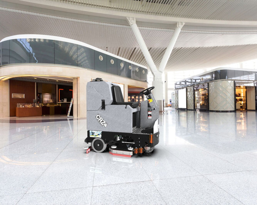 Tomcat's CRZ Rider Floor Scrubber Dryer is known for its simple design and durable construction, offering unmatched value for the customer. The CRZ Floor Scrubber Sweeper comes equipped with a powerful front-wheel drive for climbing ramps and max operator ease.