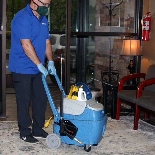 The on-board tool caddy system simplifies transporting the COUNTER STRIKE to the job location with all tools and chemical necessary to complete the surface disinfecting job in one trip.
