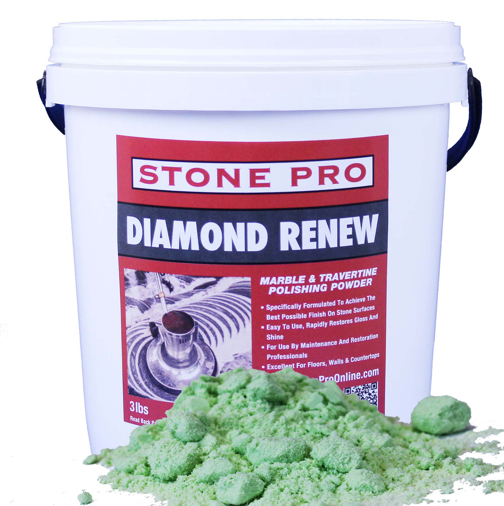 Diamond Renew is a polishing powder containing diamond abrasive that allows you to achieve the highest possible shine and clarity on marble, travertine and limestone.