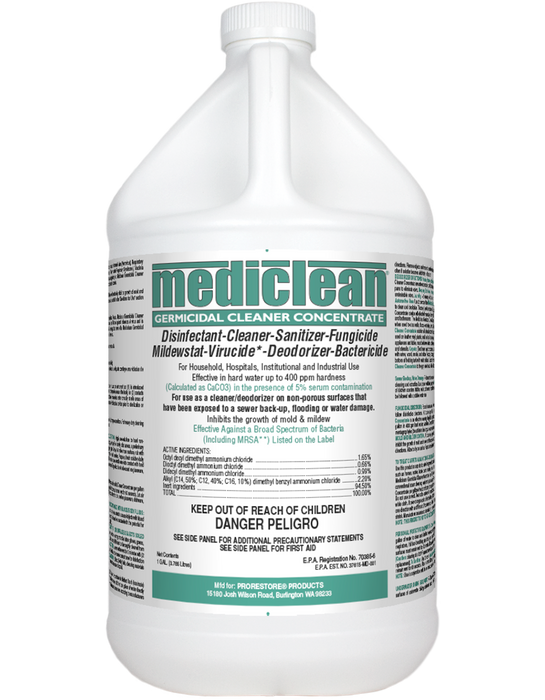 "Mediclean Germicidal Cleaner Concentrate (""QGC,"" EPA Reg. #70385-6) has demonstrated effectiveness against viruses similar to SARS-CoV-2 (as the surrogate for COVID-19) on hard, nonporous surfaces."