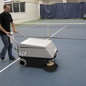 The battery powers the sweeper for over 4 hours on a single charge and the sweeping broom is self adjusting for wear.