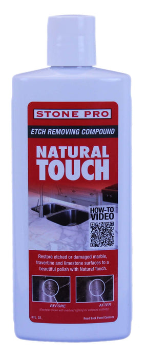 Natural Touch is a unique buffing compound that restores shine and polish to damaged marble and travertine surfaces.