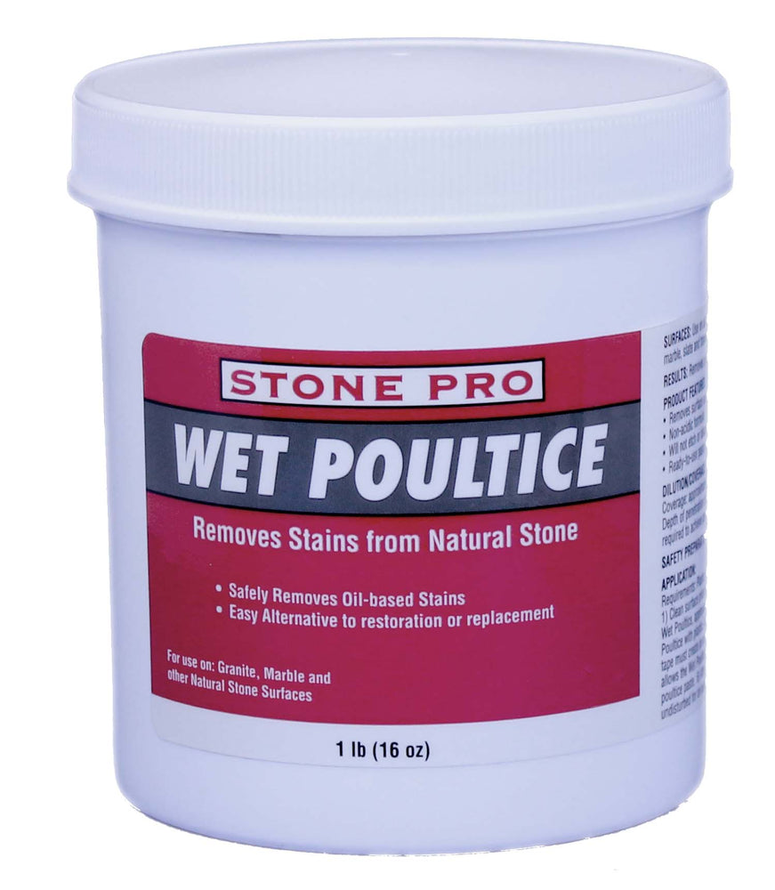 Wet Poultice is a topical poultice that pulls oil and water borne stains out of natural stone surfaces.