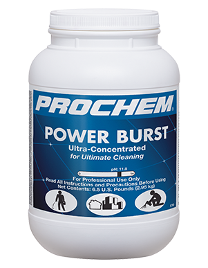 Power Burst is an Ultra-concentrated for an economical dilution ratio and the best choice for salvage cleaning of heavily soiled synthetic restaurant carpets!
