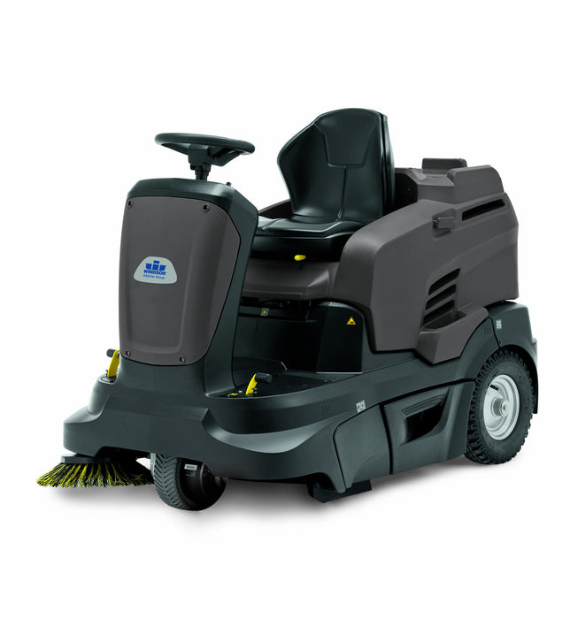 Radius 360T: This highly maneuverable ride-on sweeper increases productivity and safety with a commanding view of the work area. The Radius 360T cleans multiple surfaces from tough industrial flooring to soft carpet.