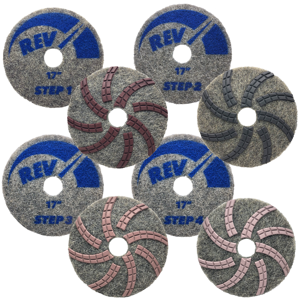 REV Diamond Polishing Pads are an environmentally friendly system for restoration of natural stone.