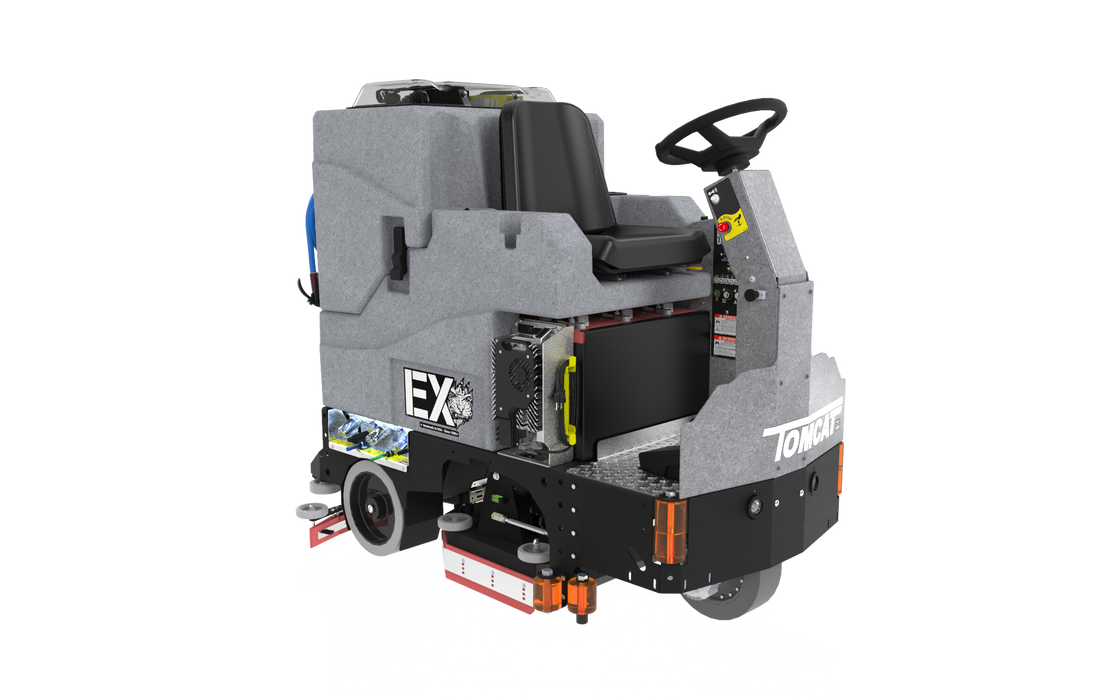 Tomcat's EX Rider Floor Scrubber Dryer is known for its simple design and durable construction, offering unmatched value for the customer. The EX Floor Scrubber Dryer comes equipped with a powerful front-wheel drive for climbing ramps and max operator ease.