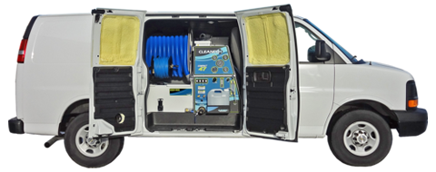 With every Cleanco Compact direct drive truckmount, you have open cargo space in your van.