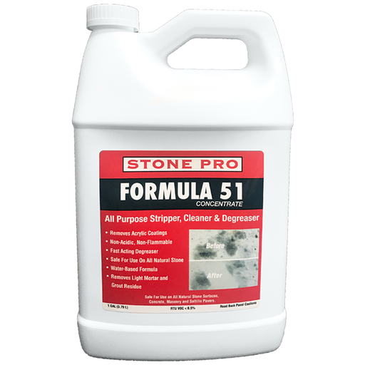 Formula 51 removes grease, grime, soap scum, hard water deposits and food stains.