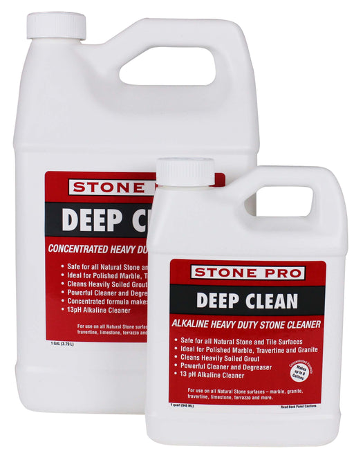Deep Clean is a NON-ACIDIC highly concentrated Alkaline cleaner safe for use on polished and honed natural stone surfaces.