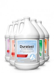 Duralast is Specifically formulated to eliminate odors caused by pet urine, leaving behind a fresh appealing fragrance. Now with Pet-Soothe™