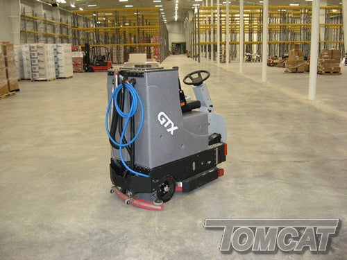 Clean your warehouse floors of all tire marks in one easy go with our Rider Floor Scrubber, the GTX. This machines large tank and easy steering makes for a very productive and easy to use machine for anyone