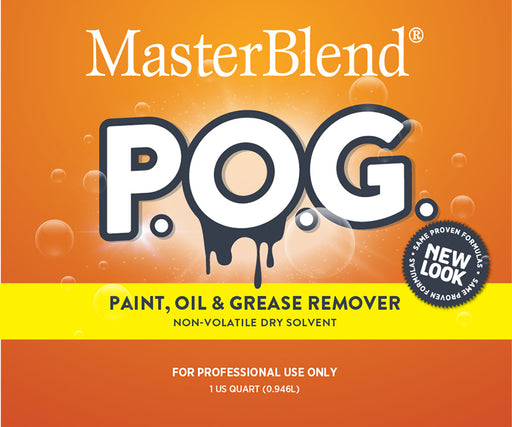 POG Paint Oil & Grease Remover is for removing difficult solvent soluble stains like paint, oil, grease, gum, ink, tar, asphalt, wax, shoe polish, nail polish, etc.