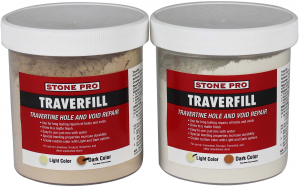 Traverfill is an easy-to-use travertine repair product that permanently repairs unsightly holes, voids, and missing travertine fill.