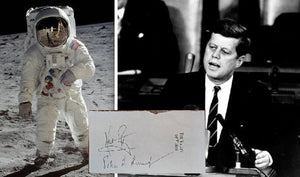 NEIL ARMSTRONG / JOHN KENNEDY signed autographed photo paper cut COA