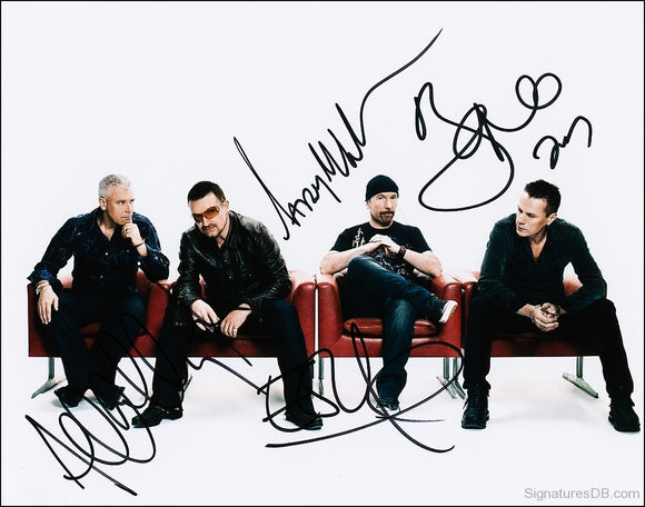 U2 BAND signed autographed photo COA